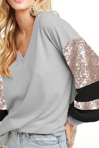 Waffle Knit Top With Sequin Puff Sleeves