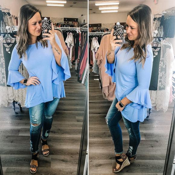 Spring Blue Bell Sleeve Hi Lo Top