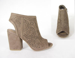 Cutout Wrapped Block Heel - Tan