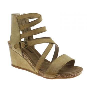 Nude Strappy Wedge Heel