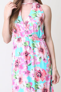 Mint + Pink Tropical Floral Maxi Dress