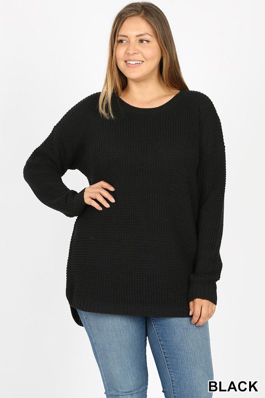 Waffle Knit Hi-Low Sweater - CURVY - Multiple Options