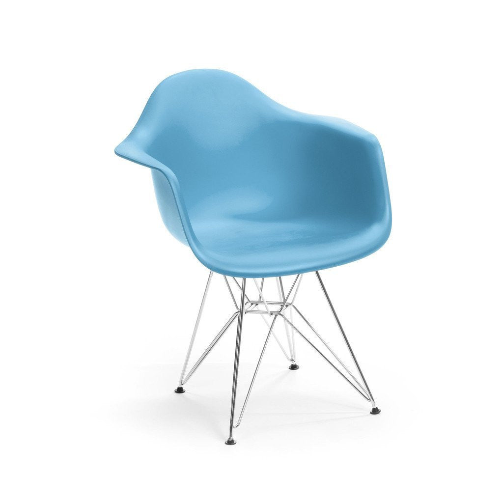 Blue Eames DAR Armchair with chrome base