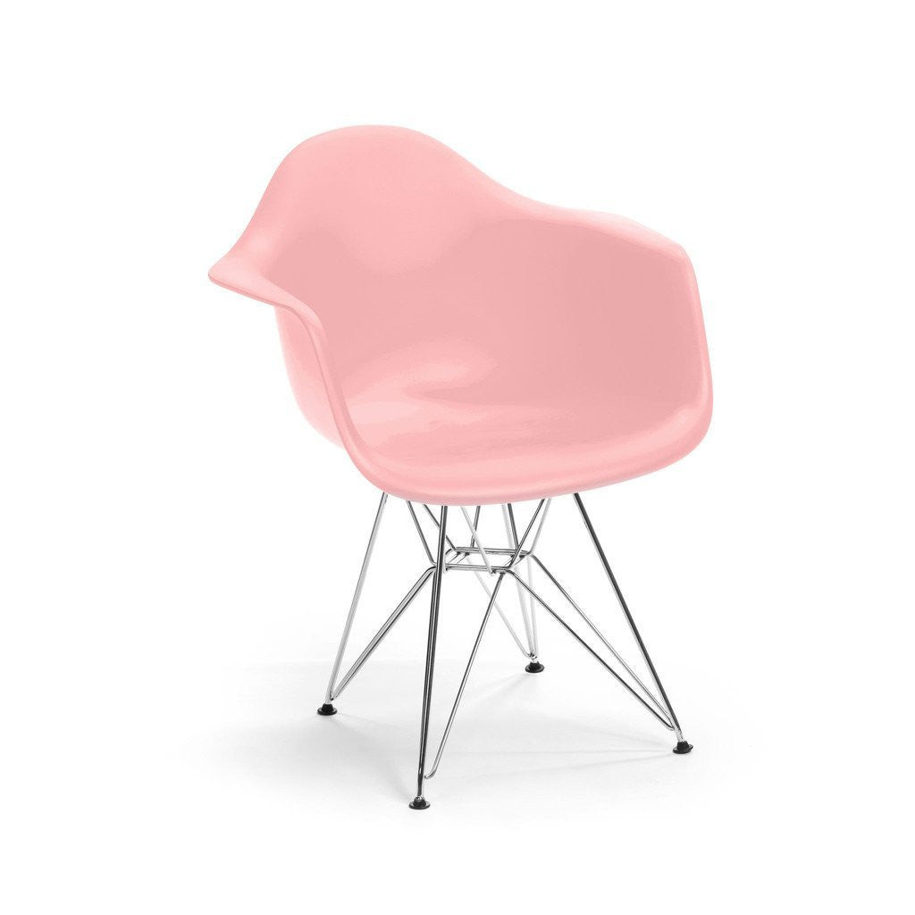 Pink Eames DAR Armchair with chrome base