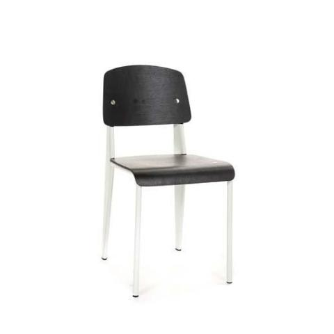 Prouvé Standard Chair white metal black wood