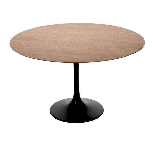 Black Saarinen Tulip Table with walnut top
