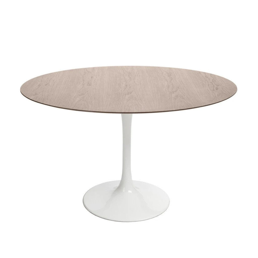 White Saarinen Tulip Table with walnut top