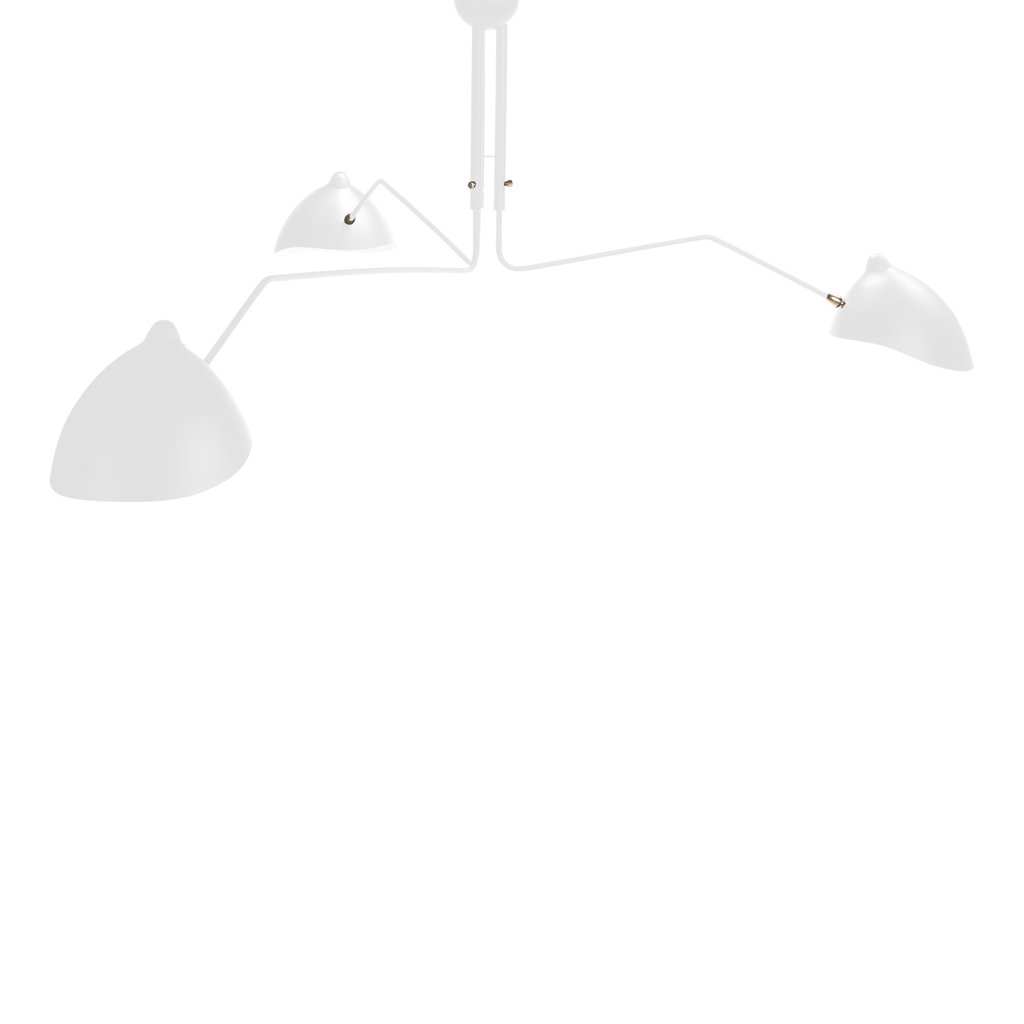 Serge Mouille Three-Arm Chandelier White