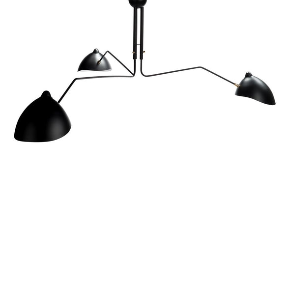 Serge Mouille Three-Arm Chandelier Black