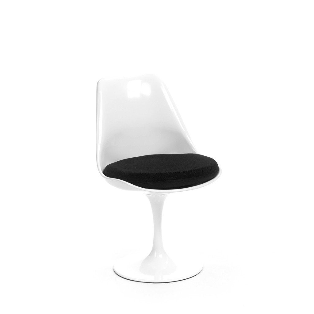 White Saarinen Tulip Chair with black cushion