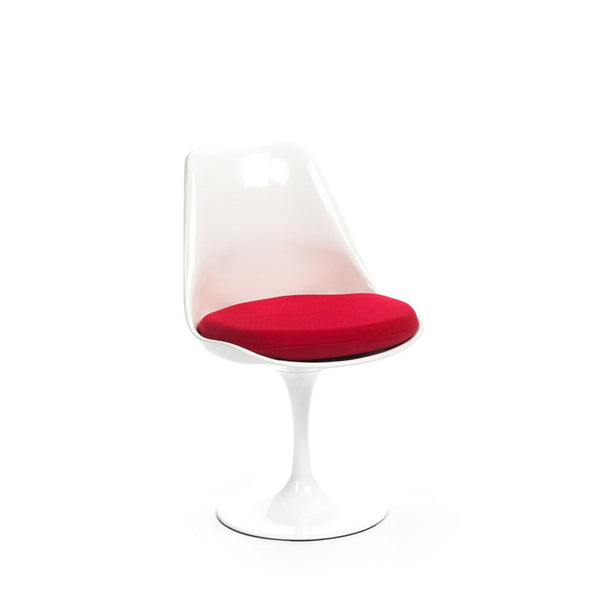 White Saarinen Tulip Chair with red cushion