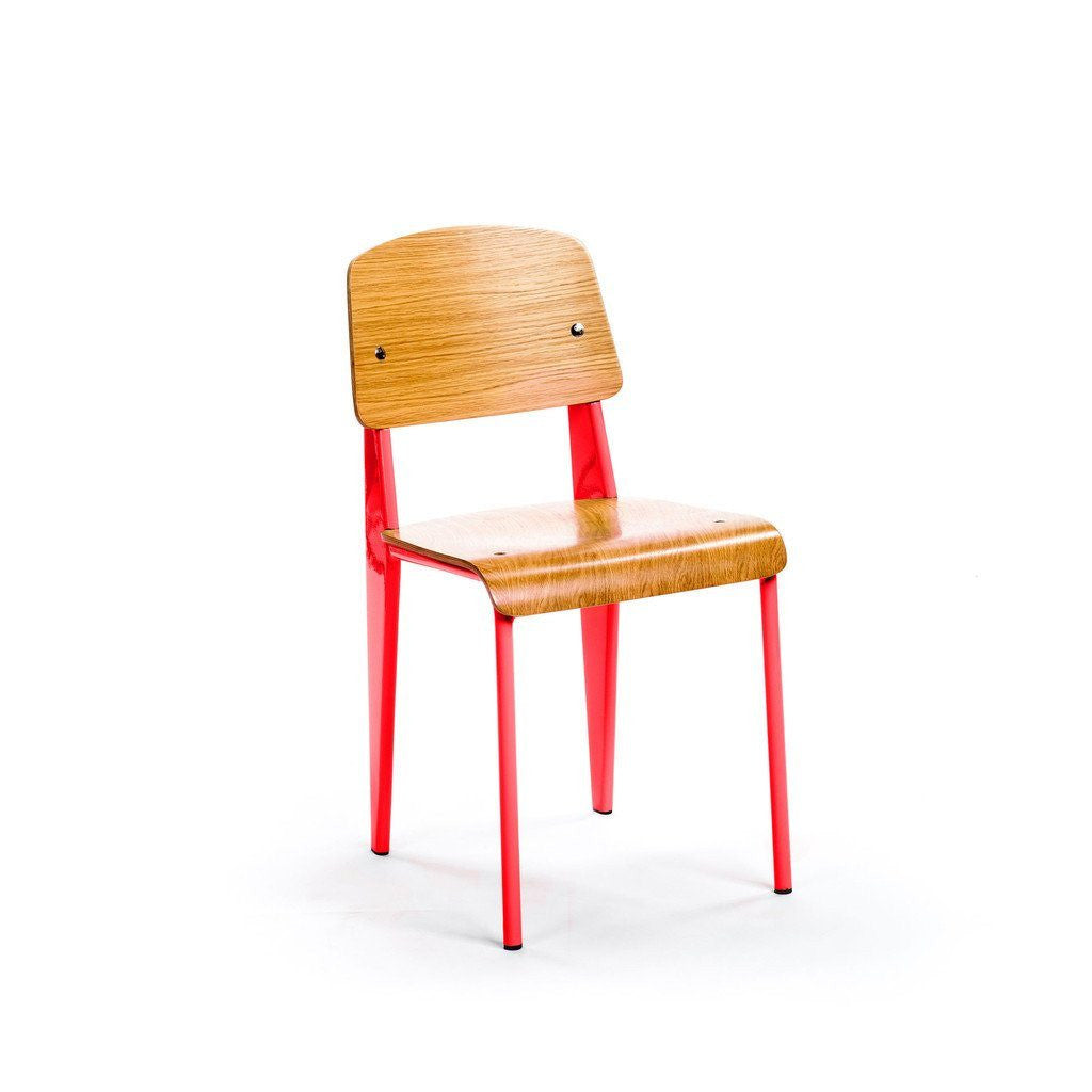 Prouvé Standard Chair red metal ash wood
