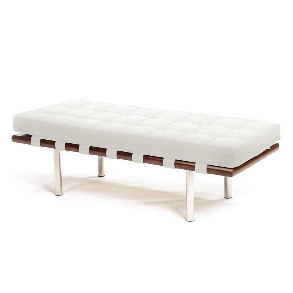 Barcelona Bench in white leather