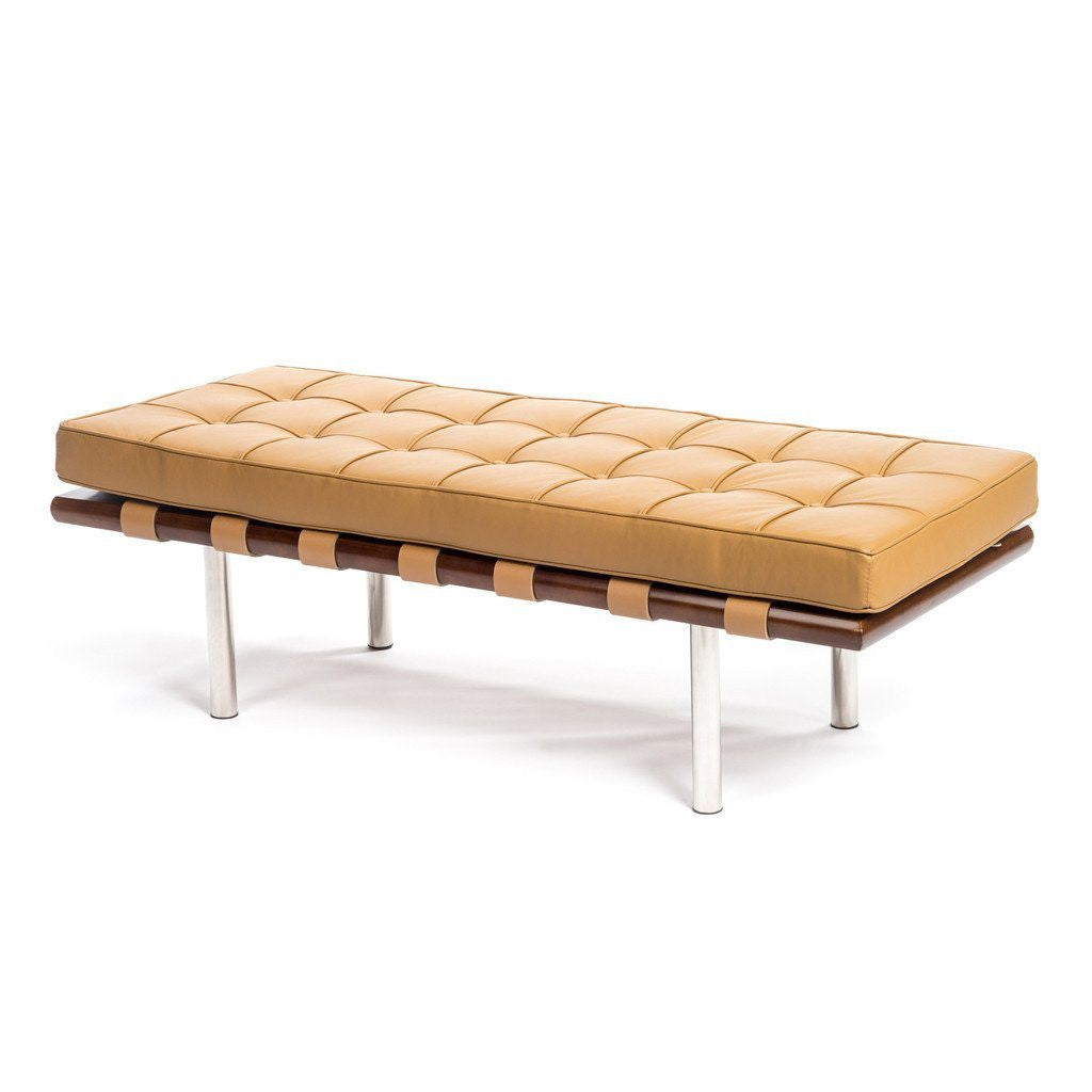 Barcelona Bench in tan leather