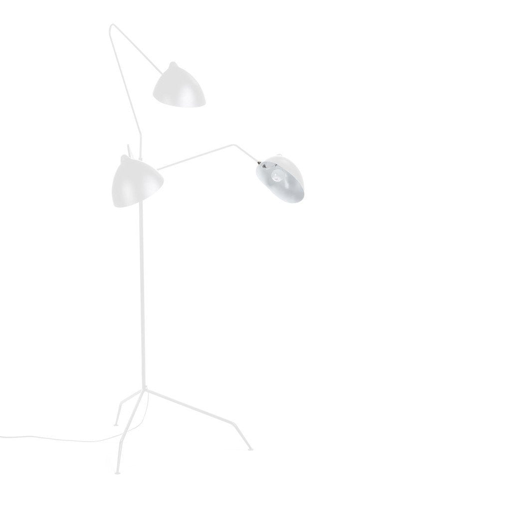 Serge Mouille Three-Arm Floor Lamp in white
