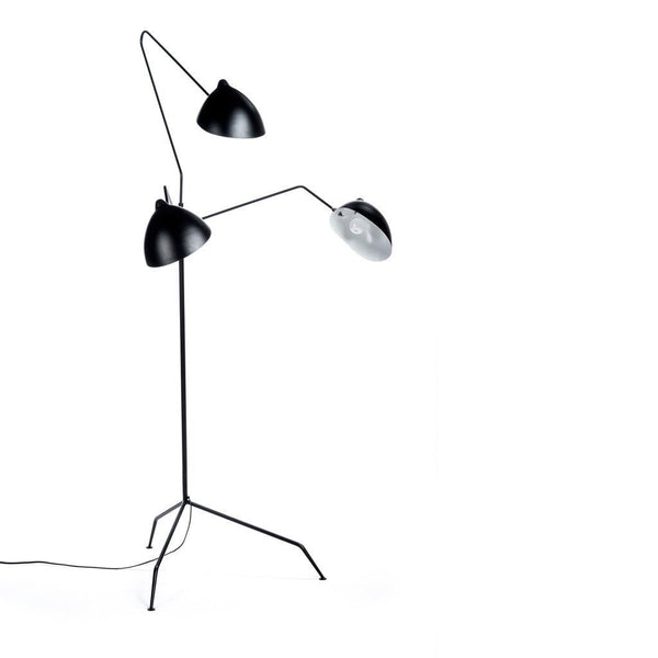 Serge Mouille Three-Arm Floor Lamp in black