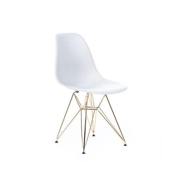White Eames DSR Chair with gold base