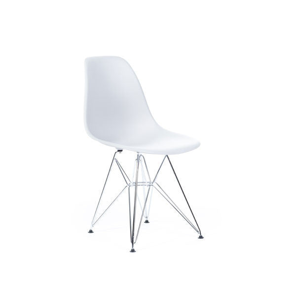 White Eames DSR Chair with chrome base