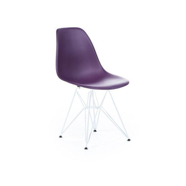 Purple Eames DSR Chair with white base