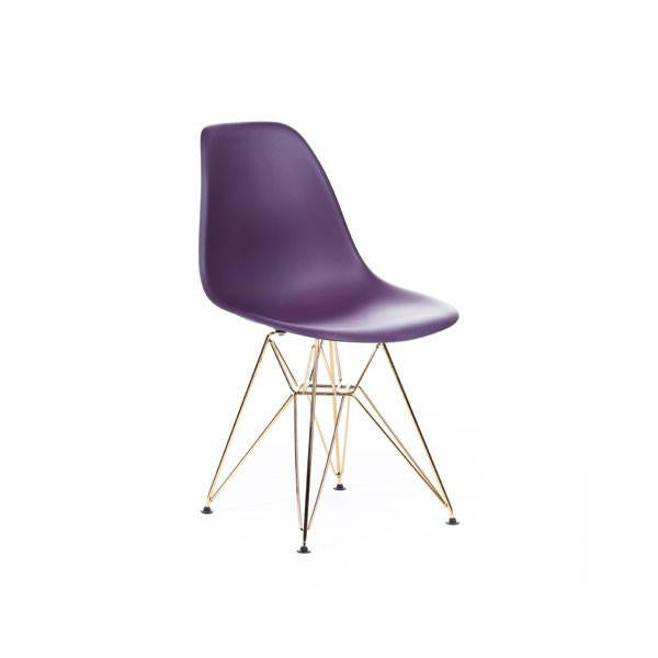 Purple Eames DSR Chair with gold base