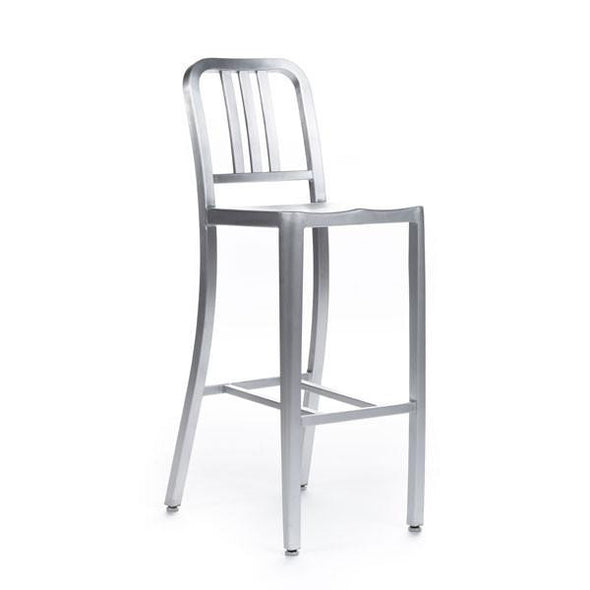 Navy Barstool brushed aluminium