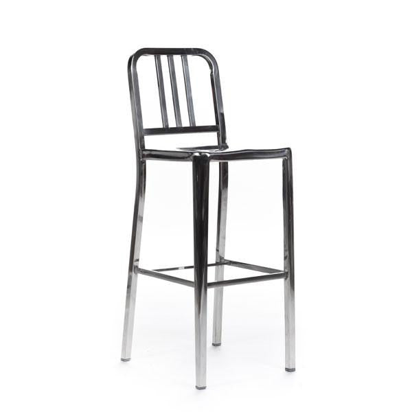 Navy Counter Stool chromed steel