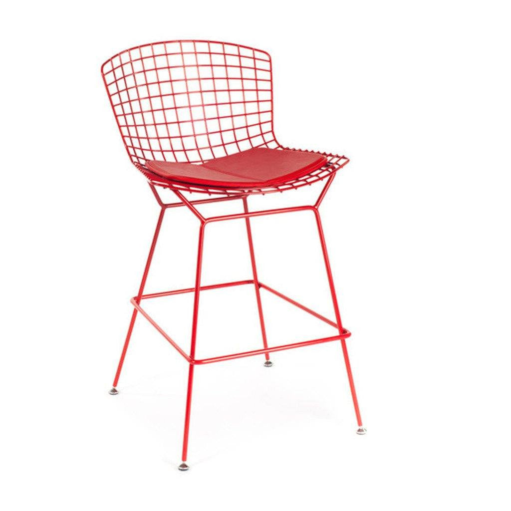 Red Bertoia Counter Stool
