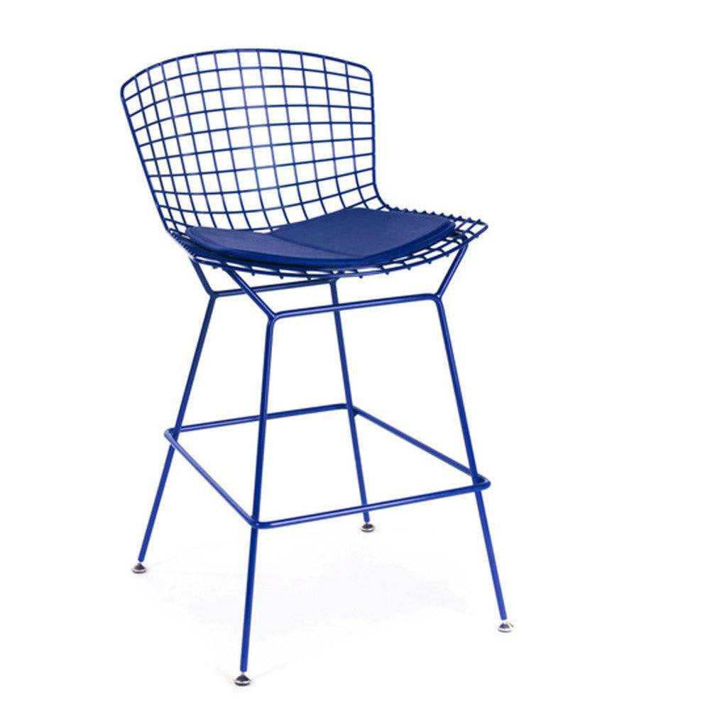 Blue Bertoia Counter Stool