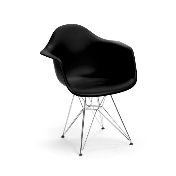 Black Eames DAR Armchair with chrome base