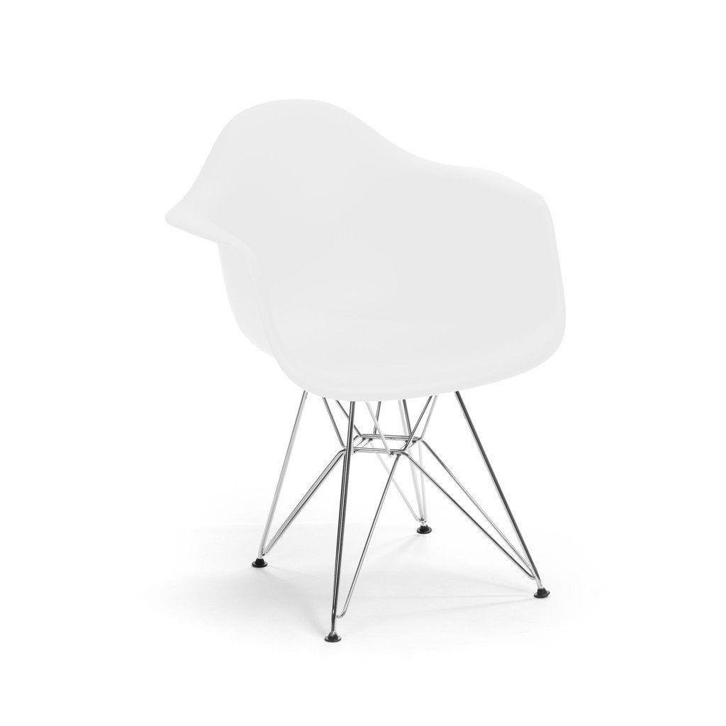White Eames DAR Armchair with chrome base