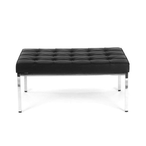 "36"" Florence Knoll Bench in black leather"