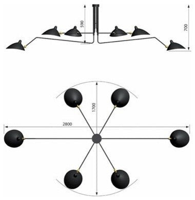 Serge Mouille Six-Arm Chandelier measurements