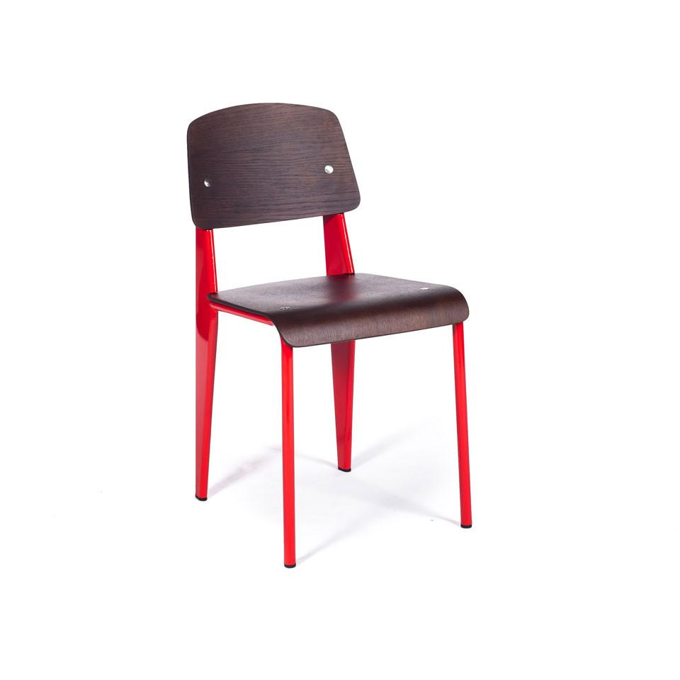 Prouvé Standard Chair Red/Walnut