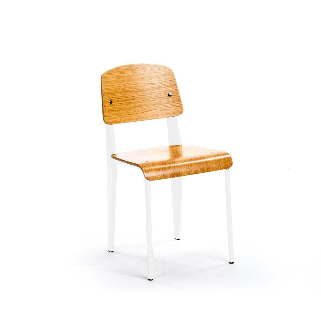 Prouvé Standard Chair white metal ash wood