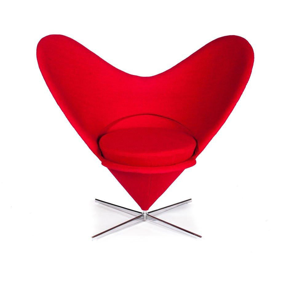 Red Panton Heart Cone Chair
