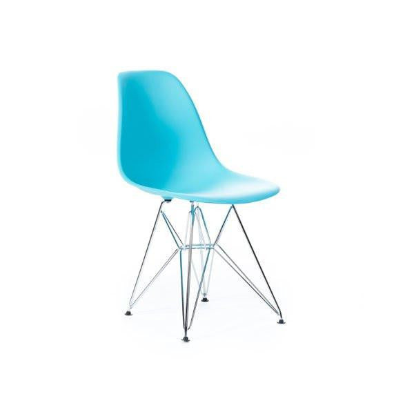 Turquoise Eames DSR Chair with chrome base