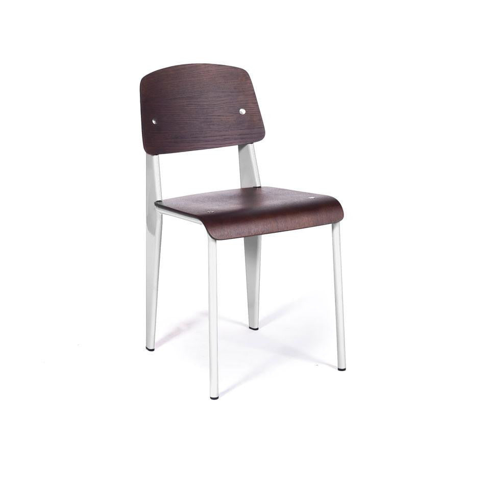 Prouvé Standard Chair white metal walnut