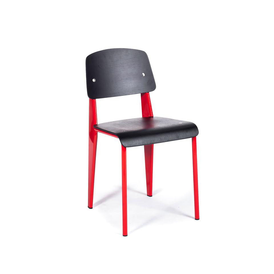 Prouvé Standard Chair red metal black wood