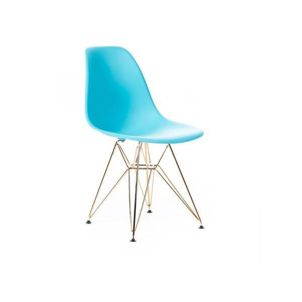 Turquoise Eames DSR Chair with gold base