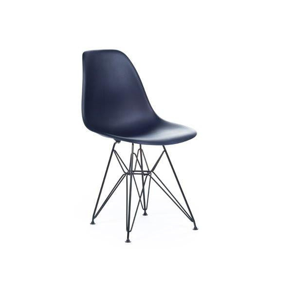 Dark Blue Eames DSR Chair with black base