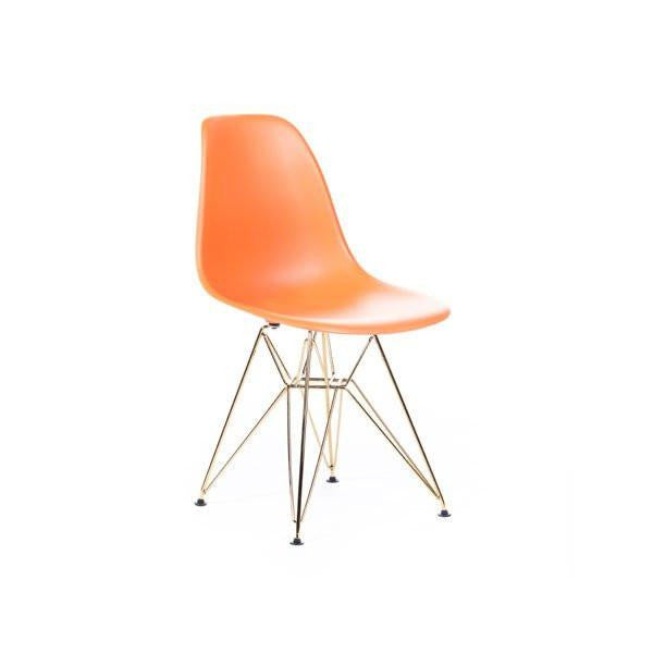 Orange Eames DSR Chair with gold base