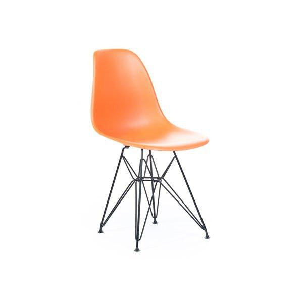 Orange Eames DSR Chair with black base
