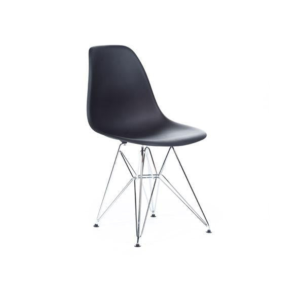 Black Eames DSR Chair with chrome base