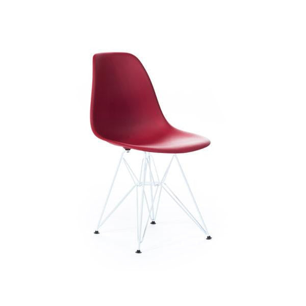Red Eames DSR Chair with white base