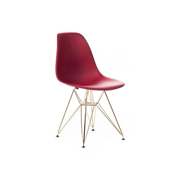 Red Eames DSR Chair with gold base