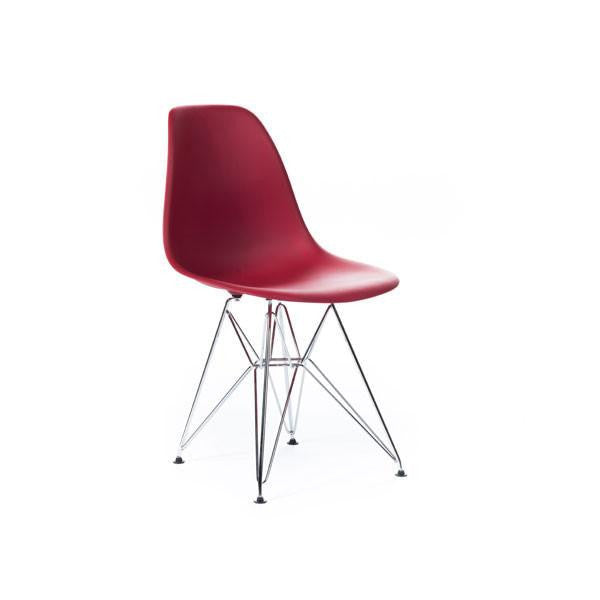 Red Eames DSR Chair with chrome base