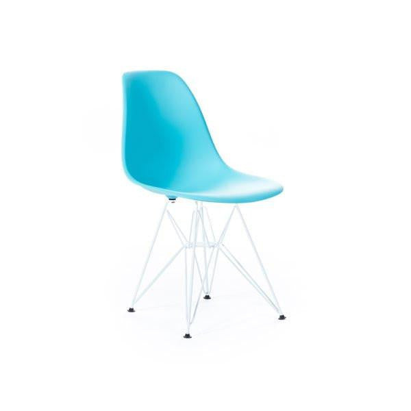 Turquoise Eames DSR Chair with white base