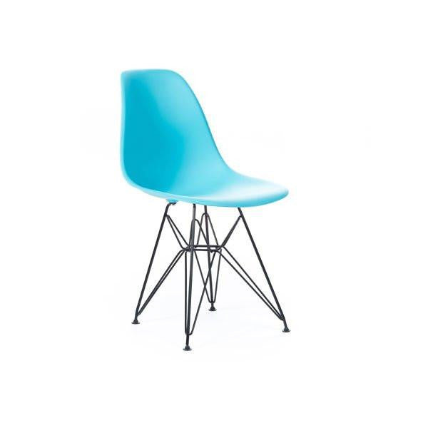 Turquoise Eames DSR Chair with black base