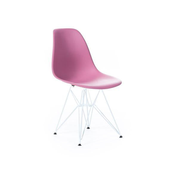 Pink Eames DSR Chair with white base