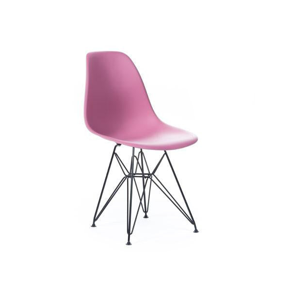 Pink Eames DSR Chair with black base